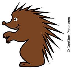 a Brown hedgehog's profile