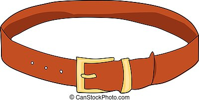 belt - A brown leather belt. Buttoned. A buckle.