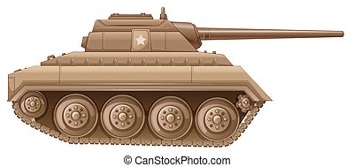 A brown military tank