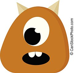 A brown monster with two horns vector or color illustration
