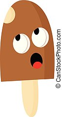 A brown popsicle ice cream vector or color illustration