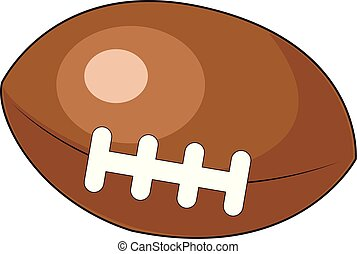 A brown rugby ball, illustration, vector on white background.