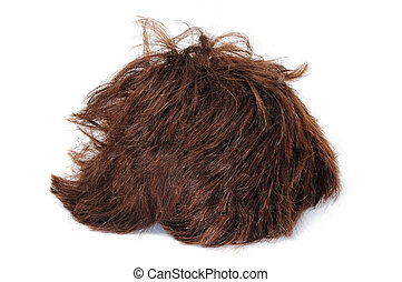 a brown short heart wig isolated on a white background