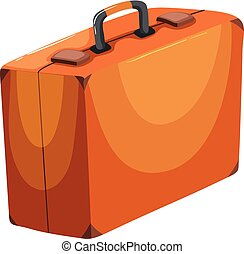 A Brown Suitcase on White Background