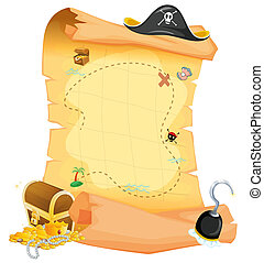 A brown treasure map - Illustration of a brown treasure map...