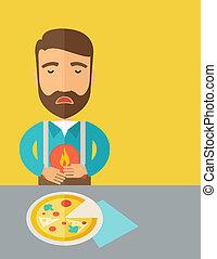 a, brulure, douleur estomac, homme, pizza., mangé, abdominal, après, ou, il