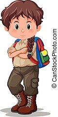 A brunette boy scout