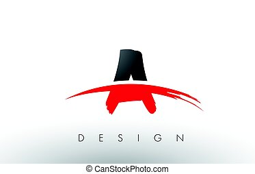 A Brush Logo Letters with Red and Black Swoosh Brush Front -...