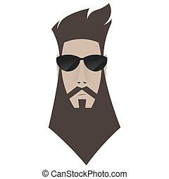 A brutal man. Hipster in dark glasses,