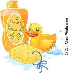 A bubble bath with a sponge and a toy duck - Illustration of...
