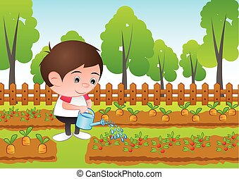 a bubble head boy cartoon water the plant in the garden,surround with fresh and green nature