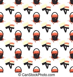 a bucket of paint and a brush. seamless pattern