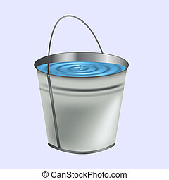 a bucket of water on a blue background
