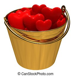 A bucket with hearts