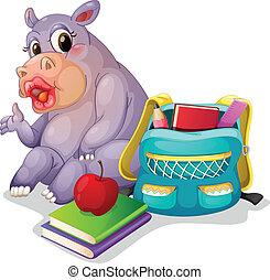 a buffalo with school bag