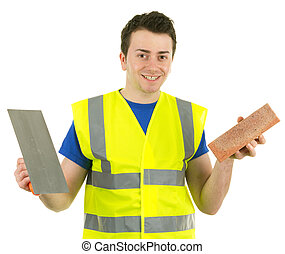 A builder with a brick and a trowel