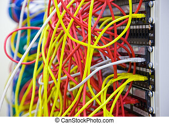 a, bukett av, nätverk, kablar, in, a, informationer...