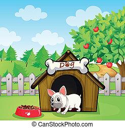 A bulldog outside its dog house with a dog food -...