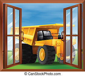 A bulldozer outside the window