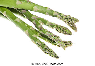 A bunch of bright fresh green asparagus isolated on a white background with a clipping path.