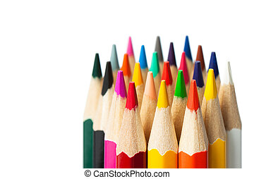 a bunch of colored pencils