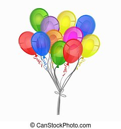 A bunch of colorful balloons isolated on a white background. Vector graphics.