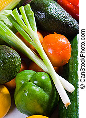 a bunch of fresh fruit and veg