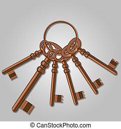 A bunch of old keys. Vector Illustration