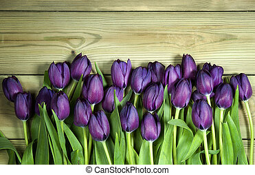 A bunch of purple tulips on the bottom of a wooden background with space for text.