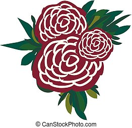 A bunch of roses vector or color illustration
