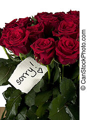 A bunch of roses with note