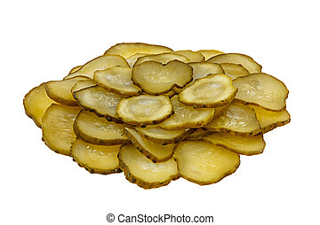 A bunch of slices of  pickled cucumber