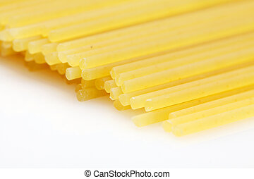 A bunch of spaghetti on white background
