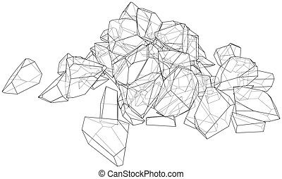 A bunch of stones. Vector illustration
