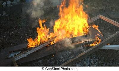A bunch of stuff burns in fire