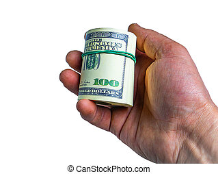 A bundle of American dollars money is rolled up in a hand.