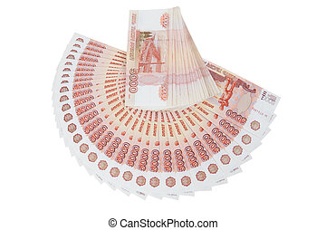 A bundle of banknotes of five thousand rubles
