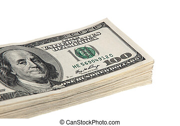 A bundle of hundred dollar banknotes on a white background. Isolated.