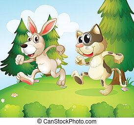 A bunny and a cat running above the hill