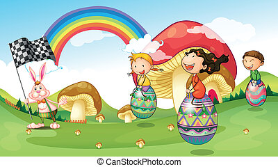 A bunny and kids with easter eggs