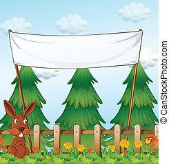A bunny at the garden below the empty banner