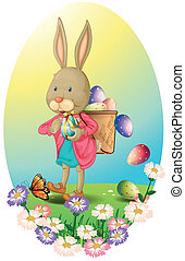 A bunny carrying a bag of Easter eggs