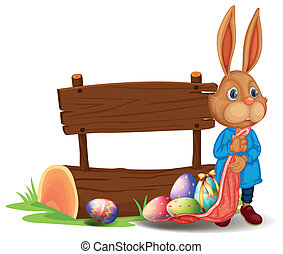 A bunny near a wooden signboard with eggs