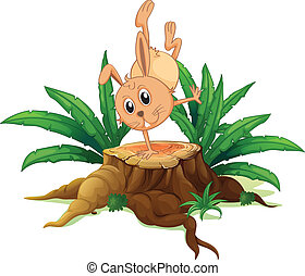 A bunny on a stump with leaves
