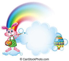 A bunny painting near the rainbow