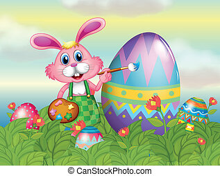 A bunny painting the egg in the garden - Illustration of a...