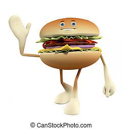 A burger character