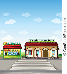 A burger junction and a train station - Illustration of a...
