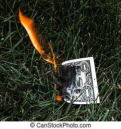 A burning dollar bill in the grass.
