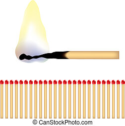 matches - a burning matchstick and lots of red matches, ...